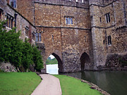 Old England Mixed Media Prints - Leeds Castle Moat   England Print by Jerry L Barrett