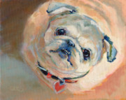 Fawn Pug Paintings - LeeLoos New Collar by Kimberly Santini