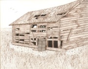 Barn Pen And Ink Drawings Prints - Lees Barn Print by Pat Price