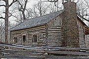Log Cabin Art Posters - Lees Cabin Poster by Betty Northcutt