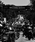 Main Street Photo Prints - Leesburg Florida 2012 Bikefest work C Print by David Lee Thompson