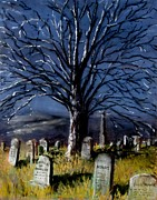 Headstones Pastels Framed Prints - Left Alone Framed Print by Jack Skinner