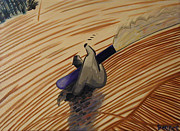 Snowboarding Paintings - Left Hand Carve by Matthew Stennett