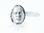 Native Chief Drawings - Left Hand by Robert Martinez