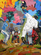 Batter Painting Prints - Lefties Print by Charles Schuch