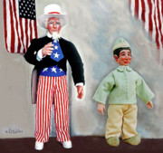 American Flag Sculptures - Lefty And Sam by David Wiles