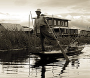 Burmese Posters - Leg rowing on Inle Lake Poster by RicardMN Photography