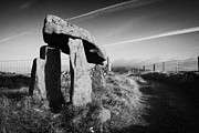 Portal Framed Prints - Legananny dolmen portal tomb ancient historic monument beside farmers laneway county down ireland Framed Print by Joe Fox