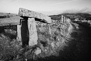 Portal Framed Prints - Legananny dolmen portal tomb ancient historic monument beside farmers laneway county down Framed Print by Joe Fox