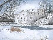 Snow Scene Drawings Originals - Legare Mill by Wilfrid Barbier