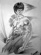 Bruce Drawings Originals - Legend Bruce Lee by Gurinder  Singh