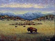 Buffalo Painting Prints - Legend Print by Linda Hiller