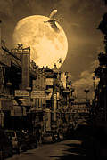 Snowy Night Night Posters - Legend of The Great White Phoenix of Chinatown . 7D7172 . Sepia Poster by Wingsdomain Art and Photography