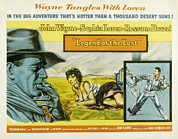 1957 Movies Photo Prints - Legend Of The Lost, John Wayne, Sophia Print by Everett
