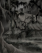 Haunted House Paintings - Legend of the Old House in the Swamp by James Christopher Hill