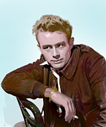 Film Star Mixed Media Prints - Legendary James Dean Print by Charles Shoup