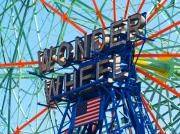 Amusements Posters - Legends Of Coney Island - The Wonder Wheel Poster by Joseph Gillette