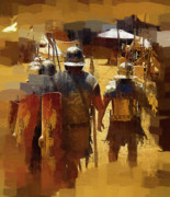 Roman Soldier Paintings - Legionnaires Marching to Camp by Clarence Alford