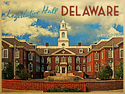 Tourism Digital Art - Legislative Hall Delaware by Vintage Poster Designs