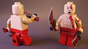 Lego Digital Art Framed Prints - LEGO Kratos Framed Print by Rimantas Vaiciulis