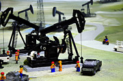 Pumpjack Posters - Lego Oil Pumpjacks Poster by Ricky Barnard