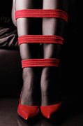 Shibari Prints - Legs in Red Ropes Print by Oleksiy Maksymenko