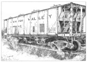 Coal Drawings Prints - Lehigh Valley Coal Car Print by Peter Muzyka