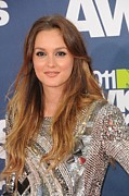 Silver Dress Prints - Leighton Meester Wearing A Balmain Print by Everett