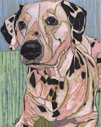 Pet Portraits Paintings - Leland Minus One Spot by David  Hearn