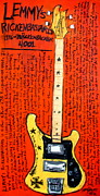 Iconic Guitar Prints - Lemmys Rickenbacker 4001 Rickenbastard Print by Karl Haglund