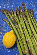 Lemon Photos - Lemon and asparagus  by Garry Gay