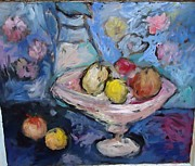 Fruit Still Life Glass Art Posters - Lemon And Cobalt Poster by Mykul Anjelo