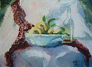 Fruitbowl Paintings - Lemon And Lace by Bryan Alexander