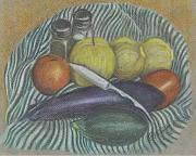 Vegetables Pastels Posters - Lemon Cucumbers Poster by Carol Wisniewski