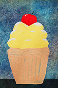 Decorating Mixed Media Acrylic Prints - Lemon Cupcake With A Cherry On Top Acrylic Print by Andee Photography