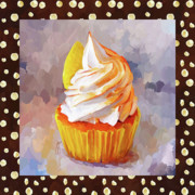 Baking Painting Posters - Lemon Cupcake With Border Poster by Jai Johnson