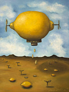 Surreal Landscape Painting Framed Prints - Lemon Drops Framed Print by Leah Saulnier The Painting Maniac