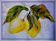Grapefruit Digital Art Prints - Lemon Fresco Print by Mindy Newman