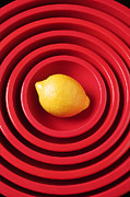 Foodstuff Prints - Lemon in red bowls Print by Garry Gay
