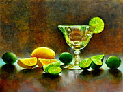Glass Table Reflection Painting Metal Prints - Lemon Lime Metal Print by Cynthia Peterson