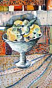 Fruit Still Life Mixed Media Framed Prints - Lemon Lime Framed Print by Mindy Newman