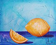 Abstract Realism Paintings - Lemon Minimalism by Peggy Bowie Davis