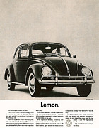 Vw Beetle Prints - Lemon Print by Nomad Art And  Design