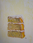 Lemon Drawings - Lemon Poppy Cake by Tina McCurdy