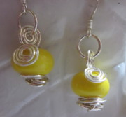 Spirals Jewelry - Lemon Spiral Earrings by Janet  Telander