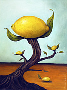 Lemon Painting Posters - Lemon Tree Poster by Leah Saulnier The Painting Maniac