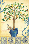 Vintage Blue Posters - Lemon Tree of Life Poster by Debbie DeWitt