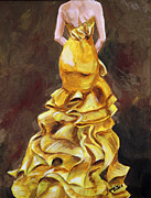 Strapless Dress Painting Framed Prints - Lemon Twist Framed Print by Jennifer Koach