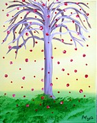 Trees Paintings - Lemonade Sky Wishing Tree by Alys Caviness-Gober