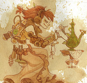 Steampunk Framed Prints - Lemongrass Framed Print by Brian Kesinger